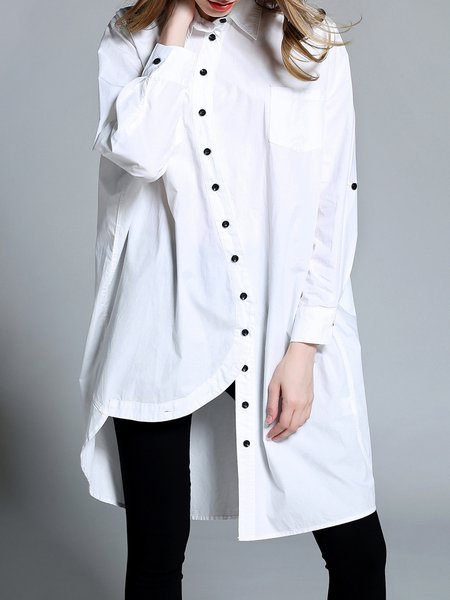 High Low Shirt Collar Simple Cotton Buttoned Tunic