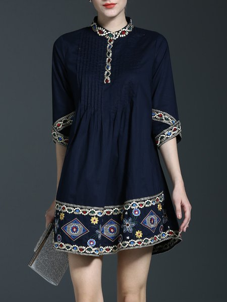 Navy Blue Embroidered 3/4 Sleeve Crew Neck Midi Dress