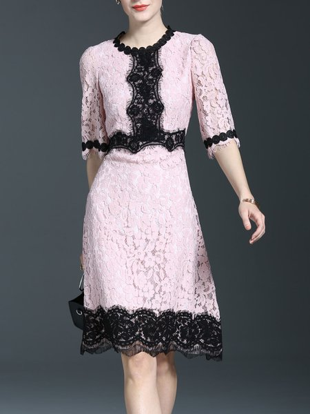 Half Sleeve Lace Color-block A-line Girly Midi Dress