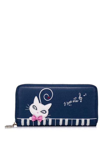 Navy Blue Zipper PU Sweet Wallet