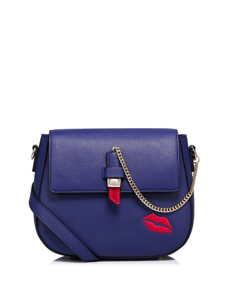 Sweet Lips Embroidered PU Zipper Crossbody