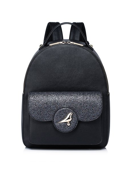 Black Casual PU Zipper Backpack