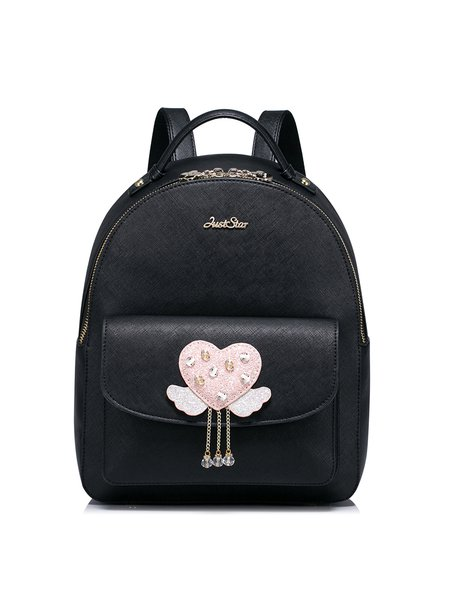 Black PU Zipper Sweet Backpack