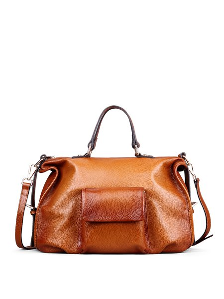 Brown Large Pocket Cowhide Leather Casual Zipper Tote