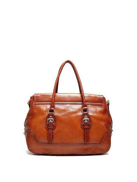Brown Cowhide Leather Casual Large Tote
