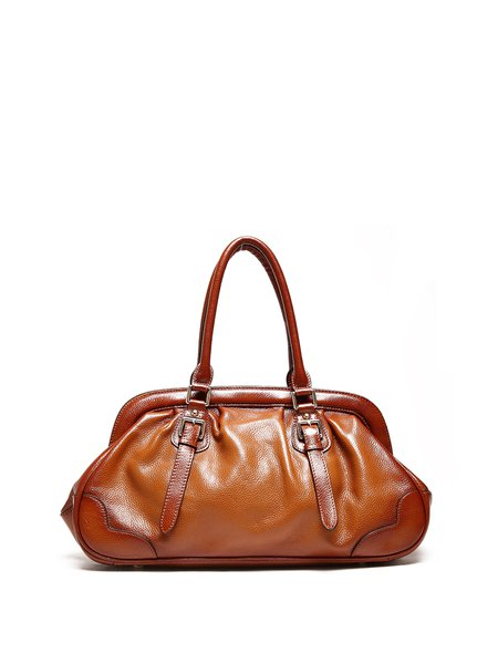 Brown Casual Large Cowhide Leather Tote