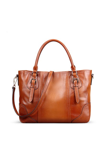 Brown Cowhide Leather Large Tote