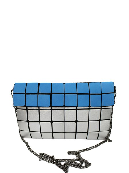 Geometric Color-block Statement PU Magnetic Crossbody