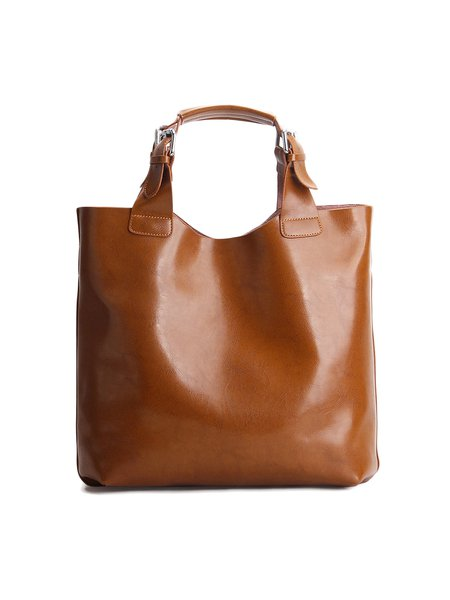 Camel Solid Cowhide Leather Tote