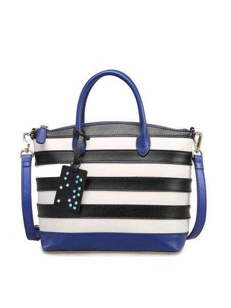 Zipper Stripes Color-block Cowhide Leather Top Handle