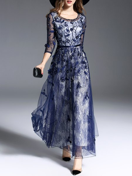 Navy Blue Beaded Embroidered Lace A-line Elegant Maxi Dress