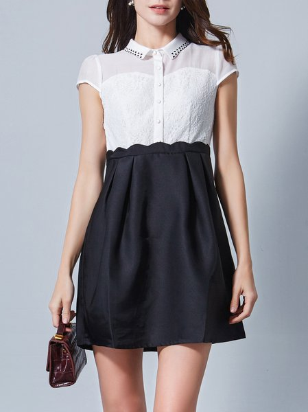 White A-line V Neck Girly Color-block Shirt Dress