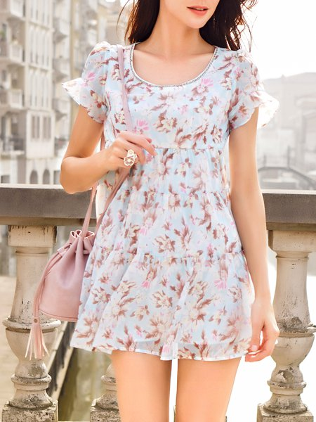 Pink A-line Crew Neck Sweet Polyester Mini Dress