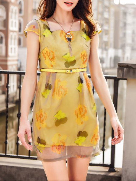 Printed Square Neck Short Sleeve Girly Mini Dress