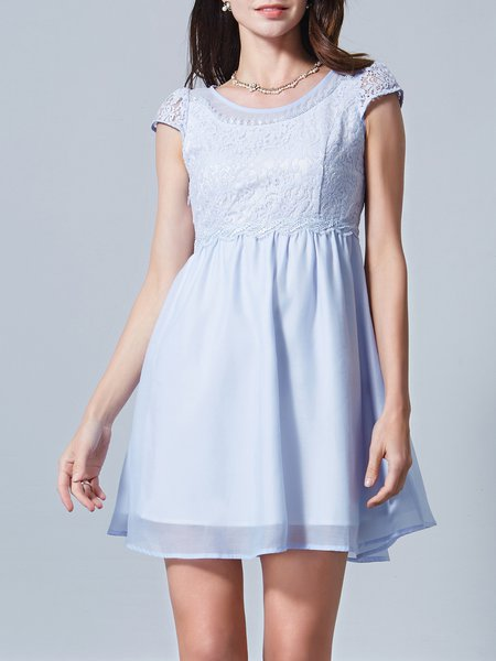 Blue Polyester Crew Neck Paneled Short Sleeve Mini Dress
