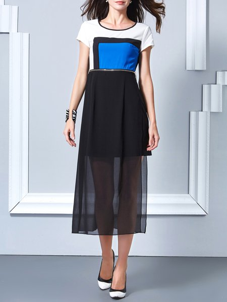 Black Polyester Short Sleeve Color-block Crew Neck Midi Dress