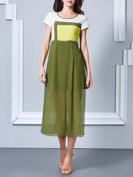 Green Polyester Short Sleeve Color-block Crew Neck Midi Dress