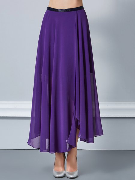 Purple Polyester A-line Asymmetric Casual Midi Skirt