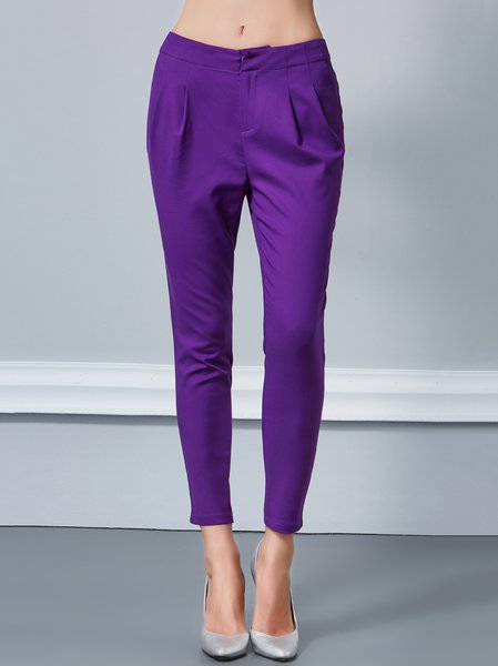 Purple H-line Folds Casual Straight Leg Pants