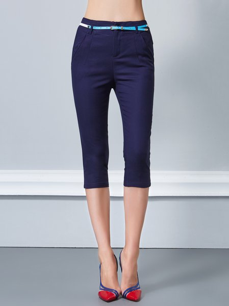 Dark Blue Plain Pockets Casual Cropped Pants with Belt