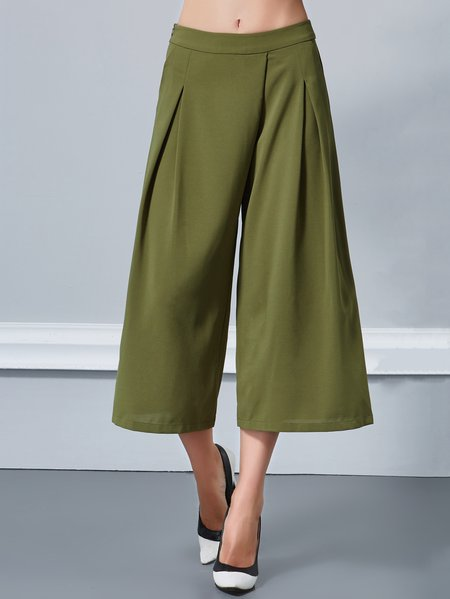 Green Casual A-line Plain Wide Leg Pants