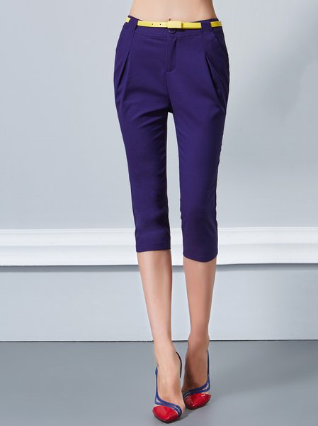 Purplish Blue Cotton-blend Casual Folds Cropped Pants