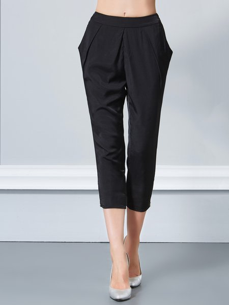 Black H-line Polyester Casual Cropped Pants