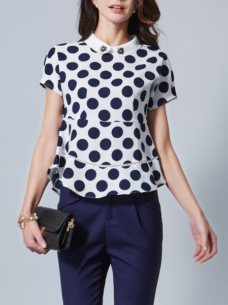 Blue H-line Crew Neck Polka Dots Casual T-Shirt