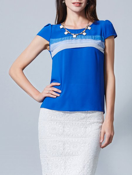 Blue H-line Short Sleeve Color-block Blouse