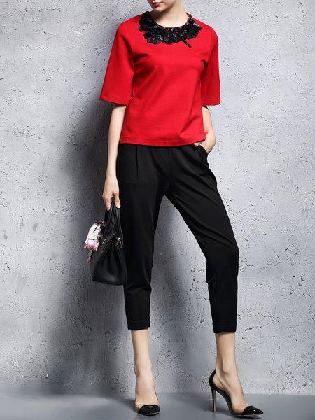 Black Pockets Cotton Casual Skinny Leg Pants