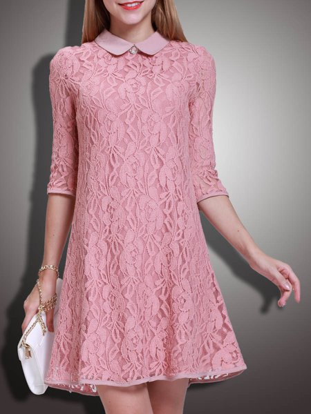 Pink Pierced Lace A-line Sweet Mini Dress