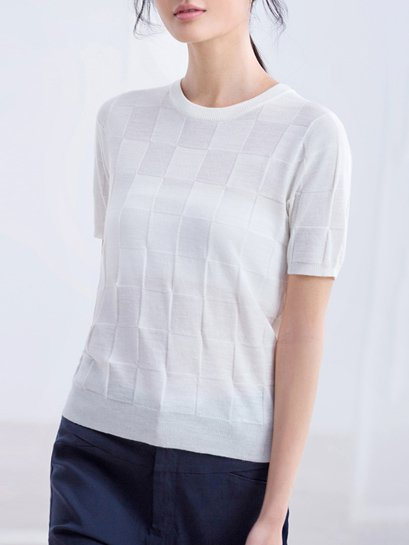 Short Sleeve Casual Sheath Knitted T-Shirt