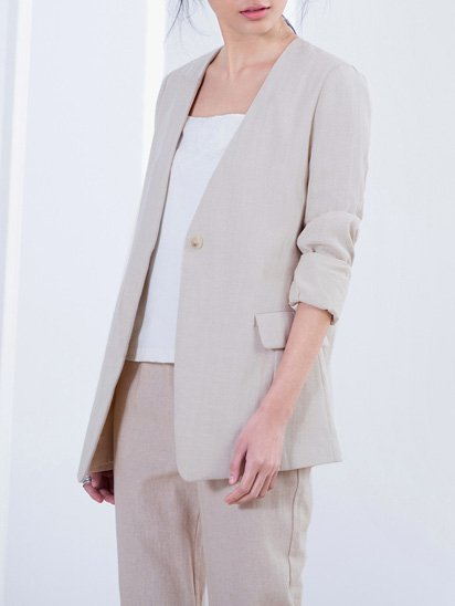 Casual Long Sleeve H-line Blazer