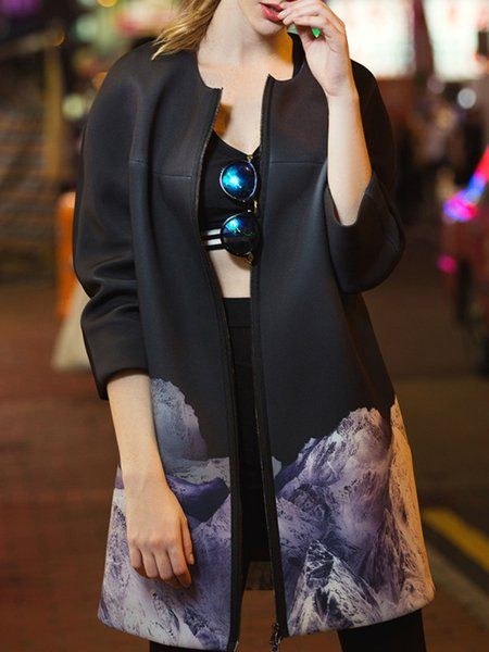Black 3/4 Sleeve Abstract Coat