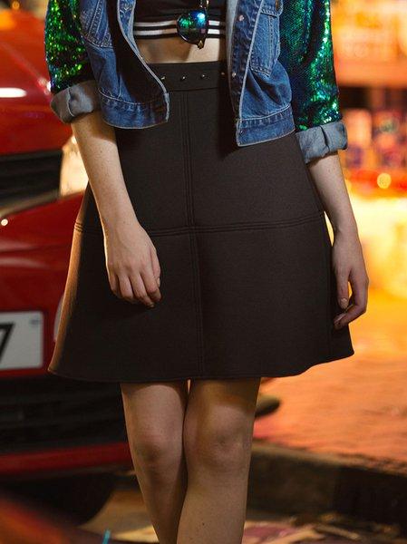 Black Casual Polyester Mini Skirt