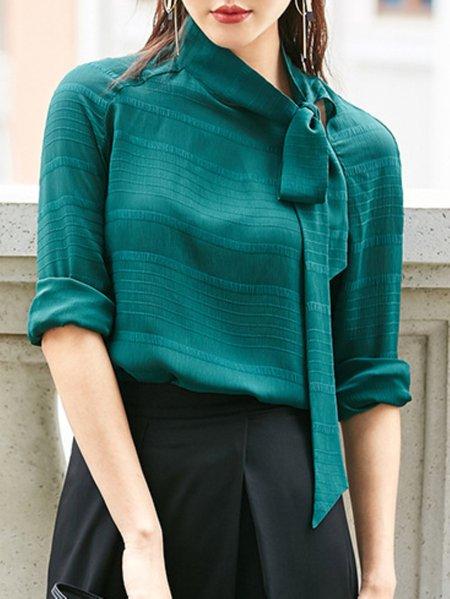 Green Polyester Turtleneck Long Sleeve Blouse