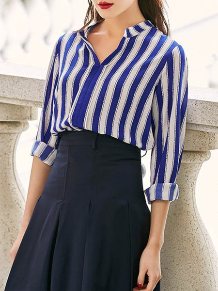 Blue Stripes Polyester Work Color-block Blouse
