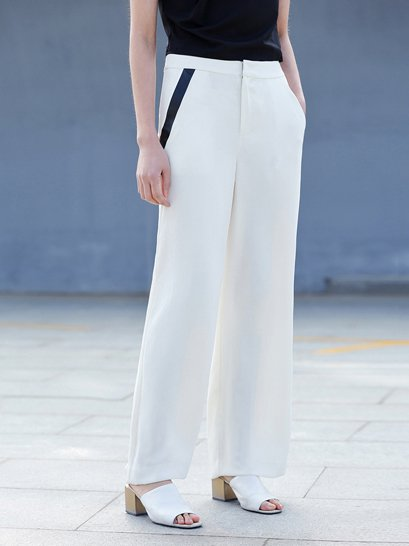 Beige Polyester Casual H-line Pockets Wide Leg Pants
