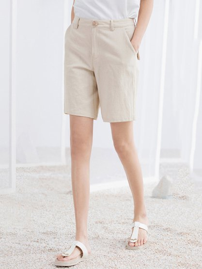 Apricot Plain Simple H-line Pockets Shorts