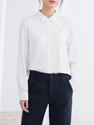 Simple Long Sleeve H-line Blouse