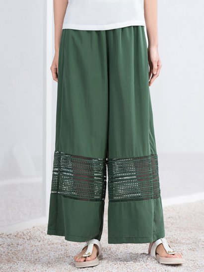 Green A-line Polyester Simple Pierced Wide Leg Pant