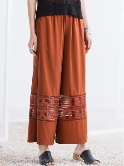 Orange Pierced H-line Simple Wide Leg Pants