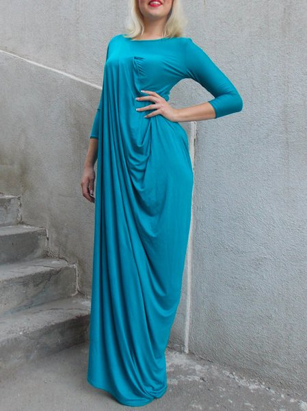 Hand Made Plain Casual Crew Neck Long Sleeve Maxi Dress