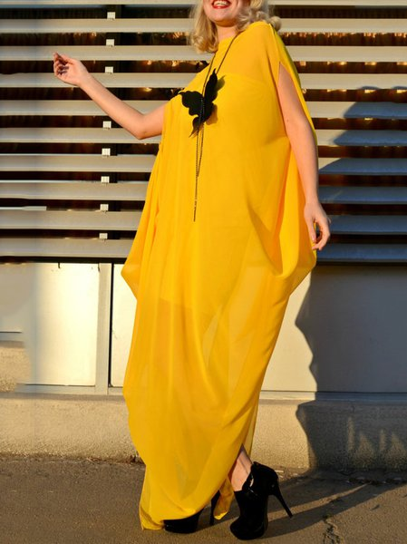 Yellow Hand Made Long Sleeve Chiffon Plain Maxi Dress