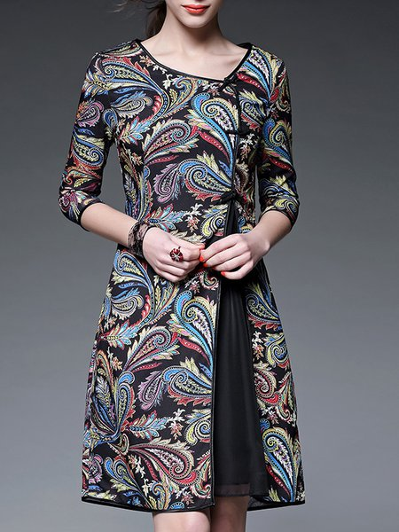Vintage Half Sleeve Paisley A-line Midi Dress