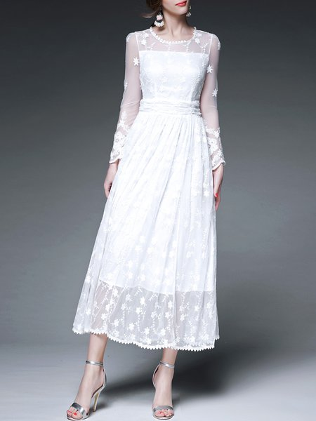 White Elegant Crew Neck Embroidery A-line Maxi Dress