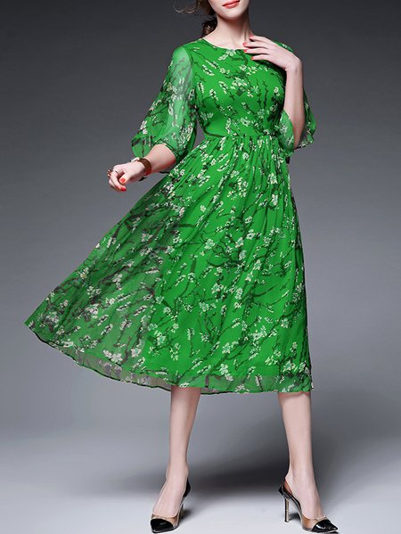 Green Floral-print Casual Midi Dress