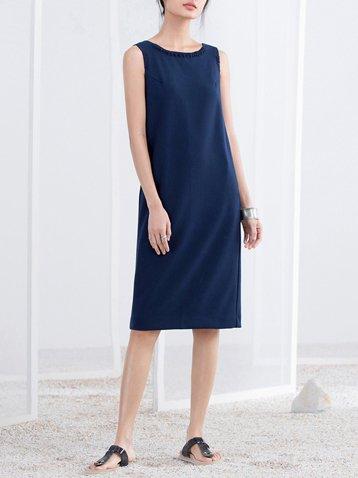 Simple Sleeveless H-line Midi Dress