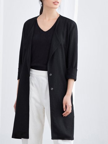 Long Sleeve Buttoned Statement High Low Coat