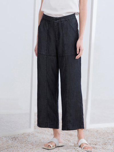 Gray Pockets Polyester Simple H-line Wide Leg Pants